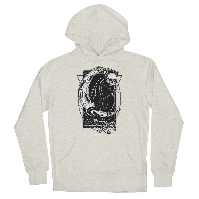 Cat Daemon sitting on the Moon Women's French Terry Pullover Hoody by von Kowen's Shop