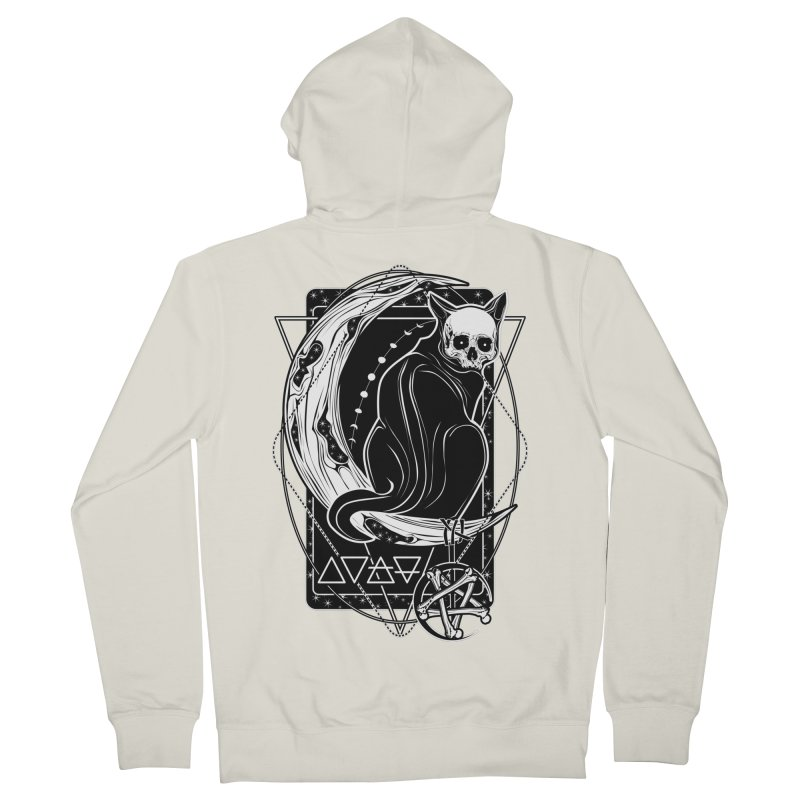 Cat Daemon sitting on the Moon Women's French Terry Zip-Up Hoody by von Kowen's Shop