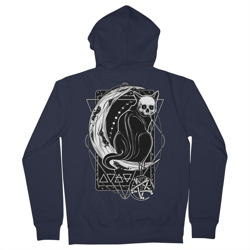 Cat Daemon sitting on the Moon Men's French Terry Zip-Up Hoody by von Kowen's Shop