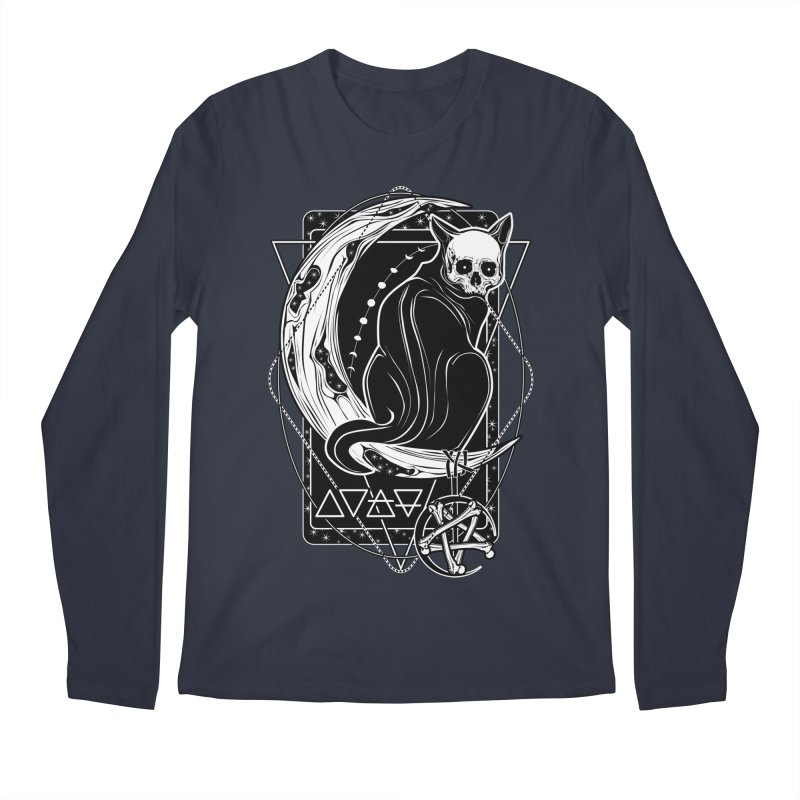 Cat Daemon sitting on the Moon Men's Regular Longsleeve T-Shirt by von Kowen's Shop