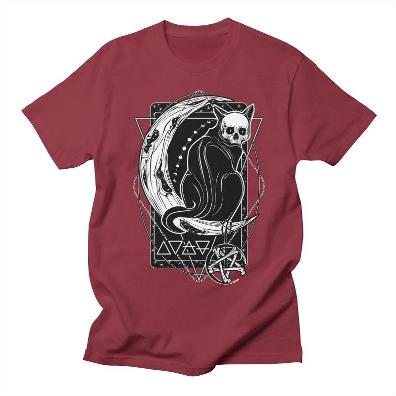 Cat Daemon sitting on the Moon Men's Regular T-Shirt by von Kowen's Shop