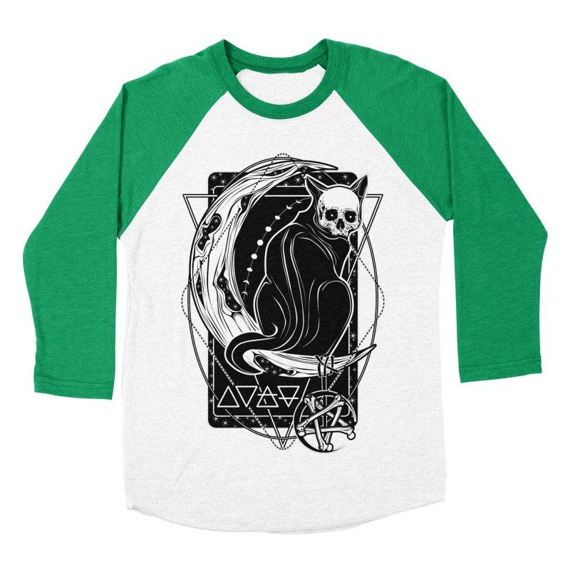 Cat Daemon sitting on the Moon Women's Baseball Triblend Longsleeve T-Shirt by von Kowen's Shop