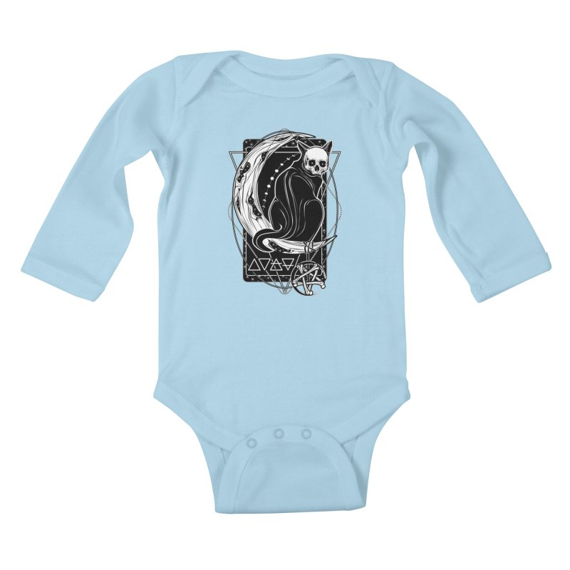 Cat Daemon sitting on the Moon Kids Baby Longsleeve Bodysuit by von Kowen's Shop