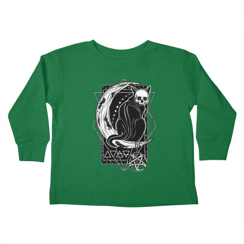 Cat Daemon sitting on the Moon Kids Toddler Longsleeve T-Shirt by von Kowen's Shop