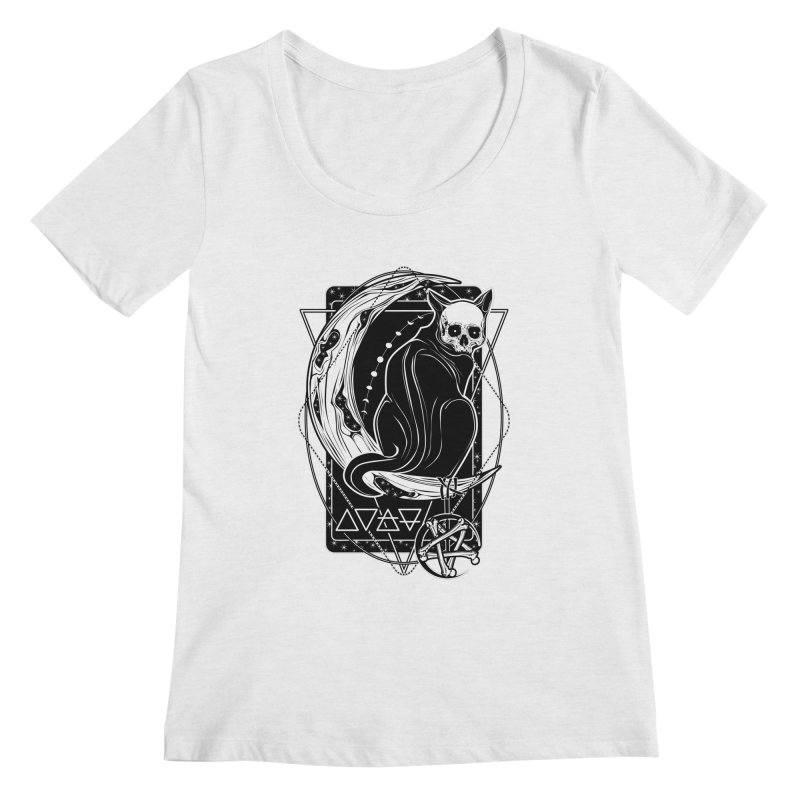 Cat Daemon sitting on the Moon Women's Regular Scoop Neck by von Kowen's Shop