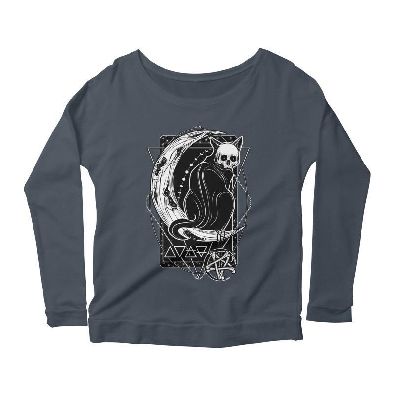 Cat Daemon sitting on the Moon Women's Scoop Neck Longsleeve T-Shirt by von Kowen's Shop