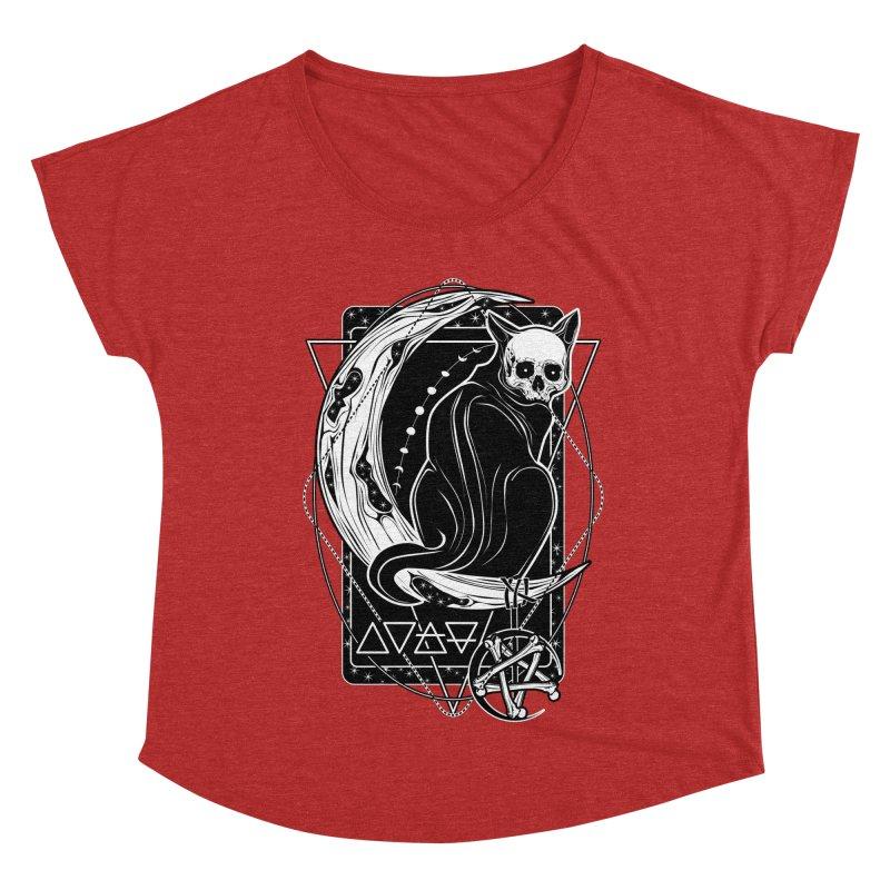 Cat Daemon sitting on the Moon Women's Dolman Scoop Neck by von Kowen's Shop