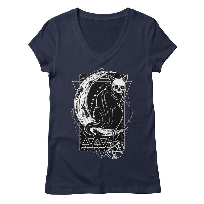 Cat Daemon sitting on the Moon Women's Regular V-Neck by von Kowen's Shop