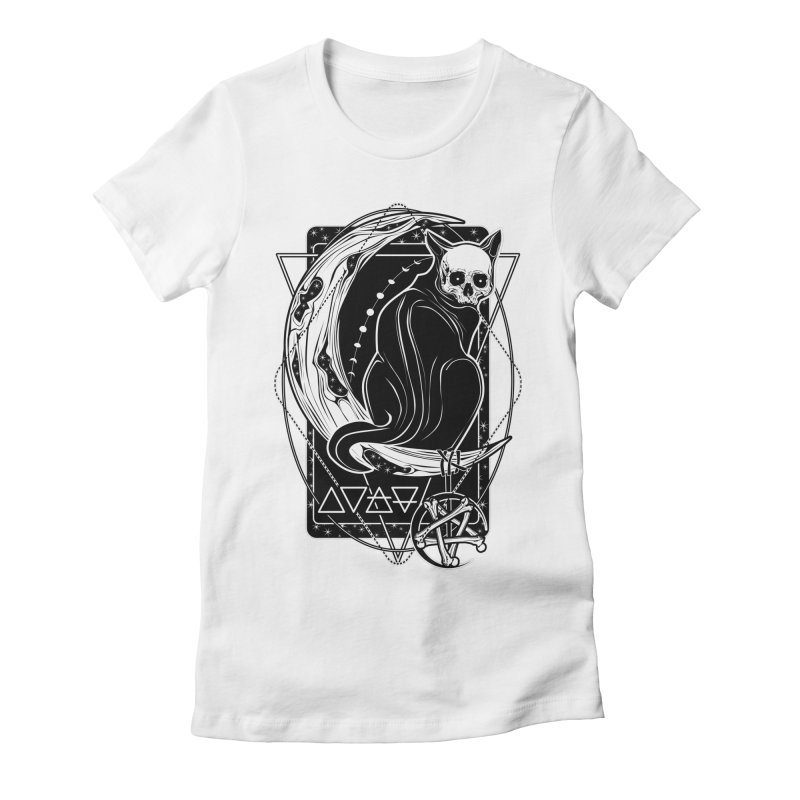 Cat Daemon sitting on the Moon Women's Fitted T-Shirt by von Kowen's Shop