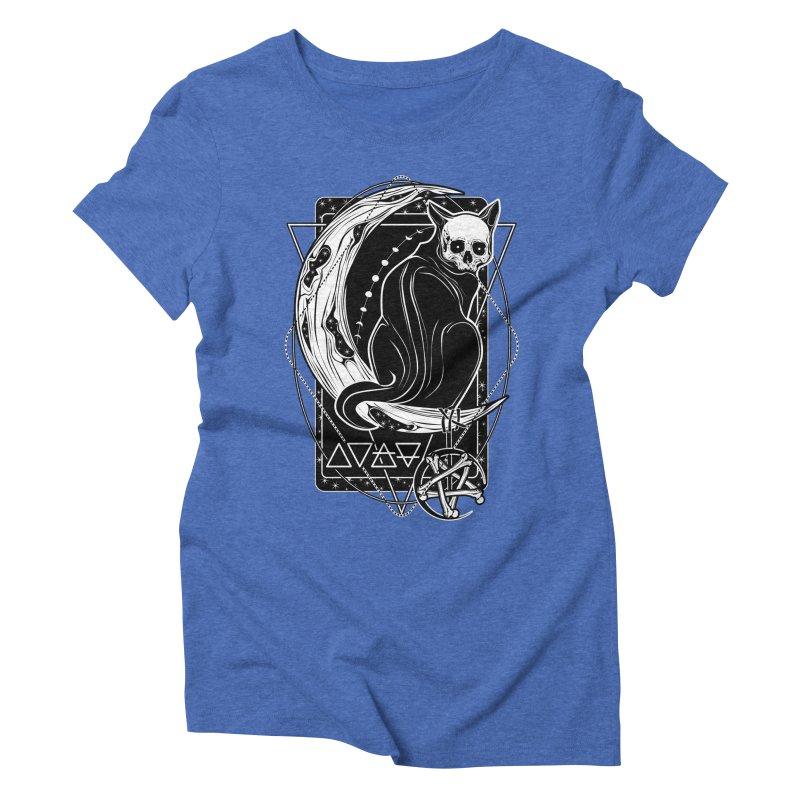 Cat Daemon sitting on the Moon Women's Triblend T-Shirt by von Kowen's Shop