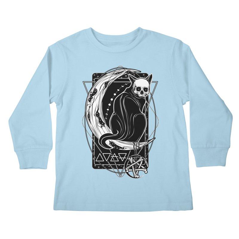 Cat Daemon sitting on the Moon Kids Longsleeve T-Shirt by von Kowen's Shop