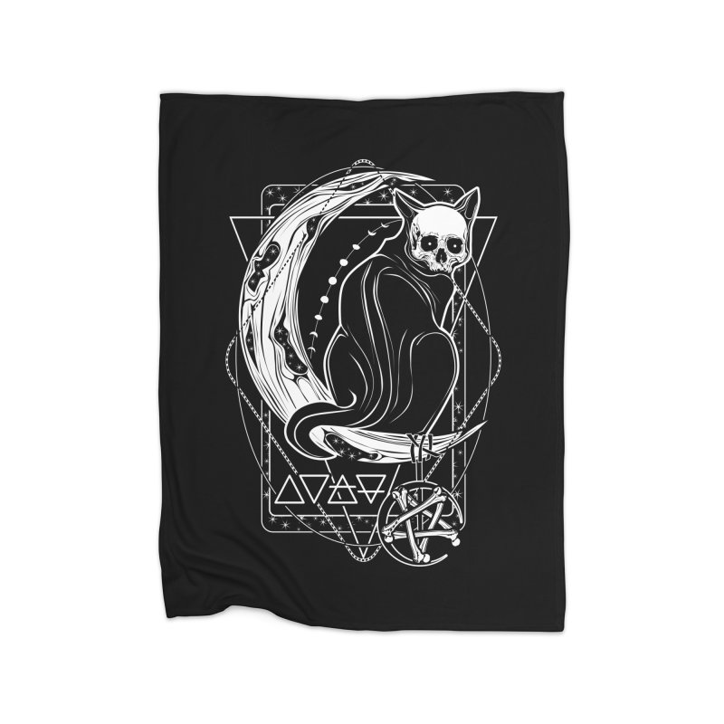 Cat Daemon sitting on the Moon Home Fleece Blanket Blanket by von Kowen's Shop