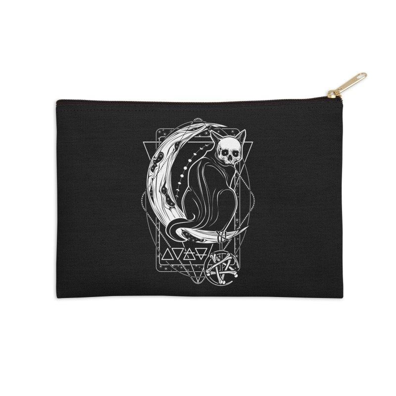 Cat Daemon sitting on the Moon Accessories Zip Pouch by von Kowen's Shop