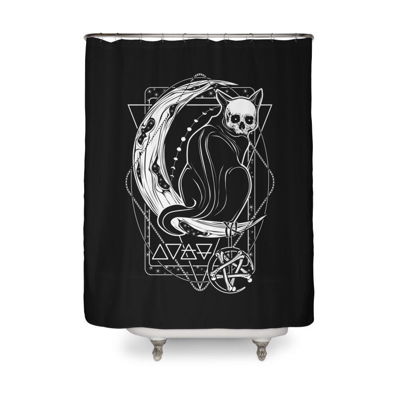 Cat Daemon sitting on the Moon Home Shower Curtain by von Kowen's Shop