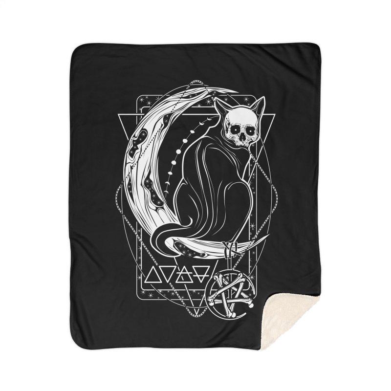 Cat Daemon sitting on the Moon Home Sherpa Blanket Blanket by von Kowen's Shop