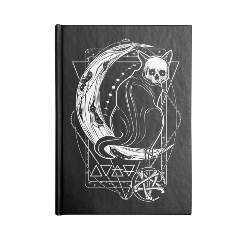Cat Daemon sitting on the Moon Accessories Lined Journal Notebook by von Kowen's Shop