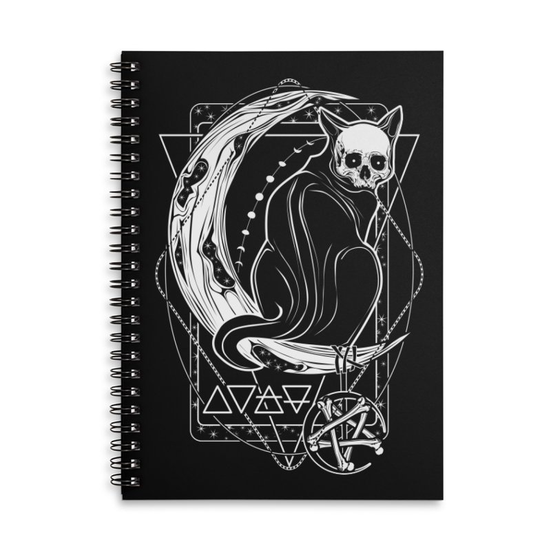 Cat Daemon sitting on the Moon Accessories Lined Spiral Notebook by von Kowen's Shop