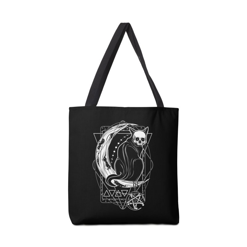Cat Daemon sitting on the Moon Accessories Tote Bag Bag by von Kowen's Shop