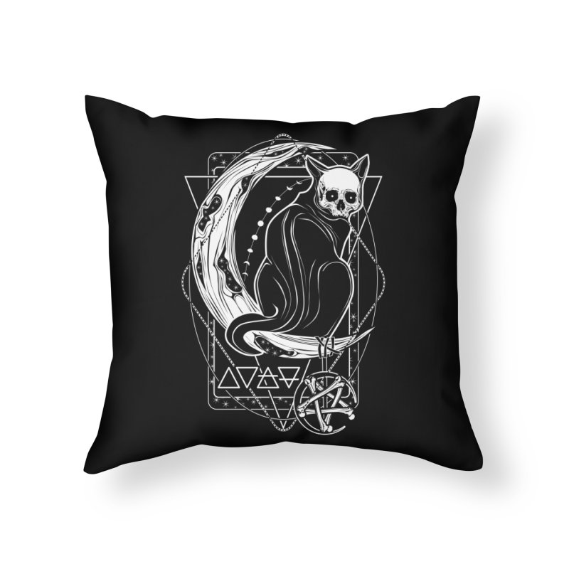 Cat Daemon sitting on the Moon Home Throw Pillow by von Kowen's Shop