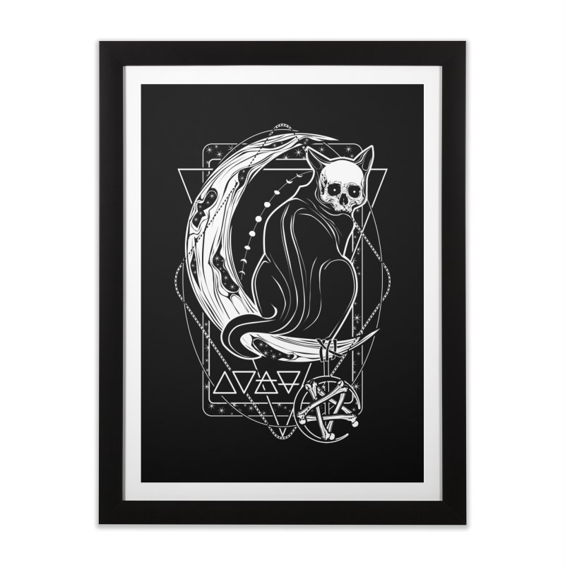 Cat Daemon sitting on the Moon Home Framed Fine Art Print by von Kowen's Shop