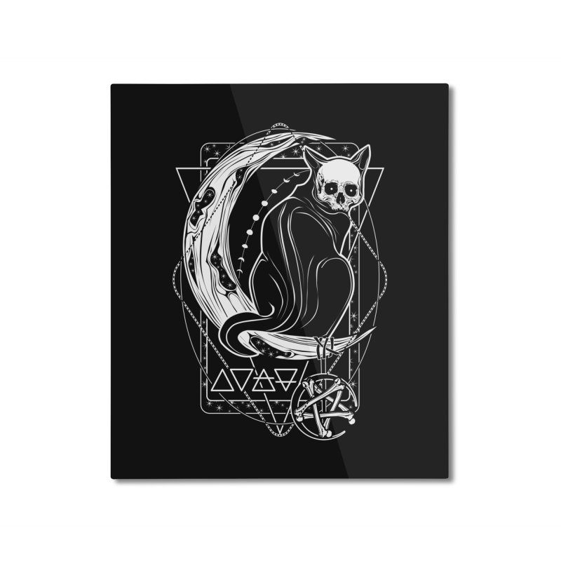 Cat Daemon sitting on the Moon Home Mounted Aluminum Print by von Kowen's Shop
