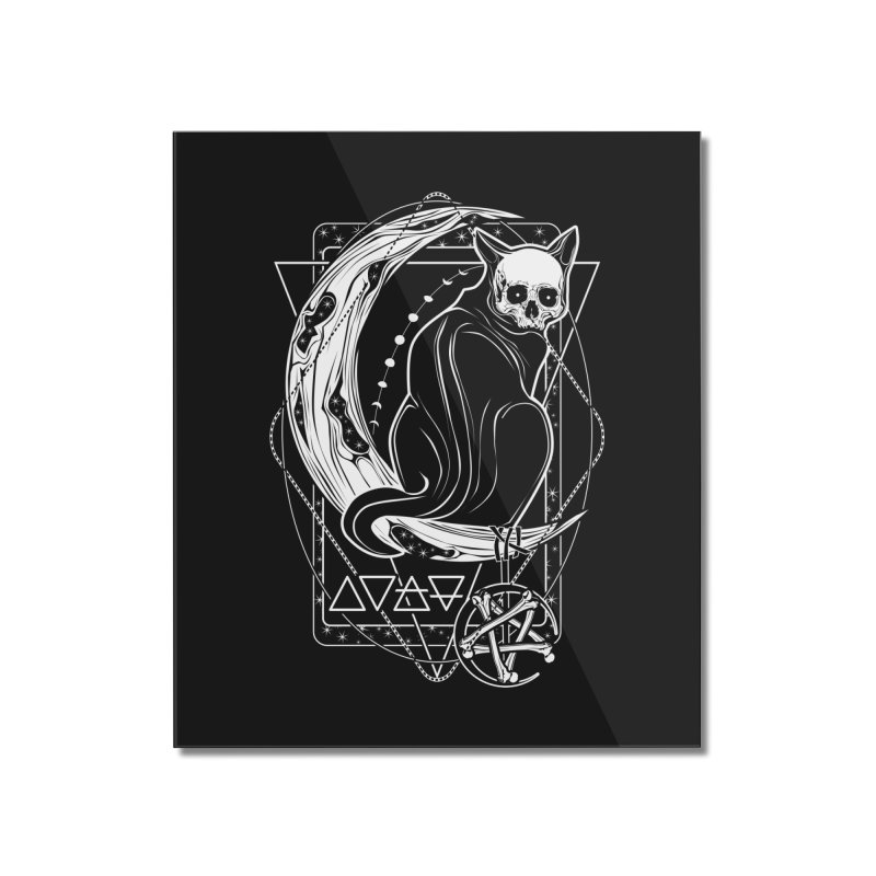 Cat Daemon sitting on the Moon Home Mounted Acrylic Print by von Kowen's Shop