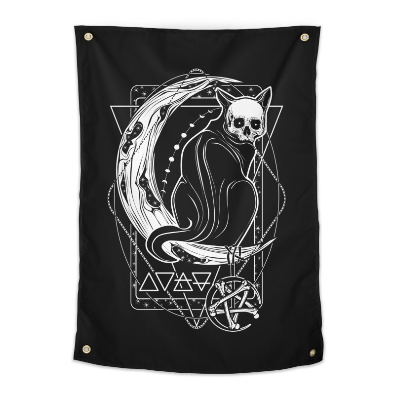 Cat Daemon sitting on the Moon Home Tapestry by von Kowen's Shop