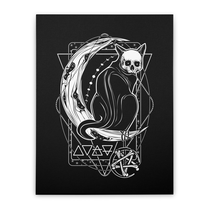 Cat Daemon sitting on the Moon Home Stretched Canvas by von Kowen's Shop