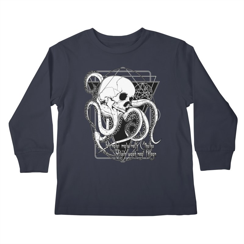 In his house at R'lyeh dead Cthulhu waits dreaming Kids Longsleeve T-Shirt by von Kowen's Shop