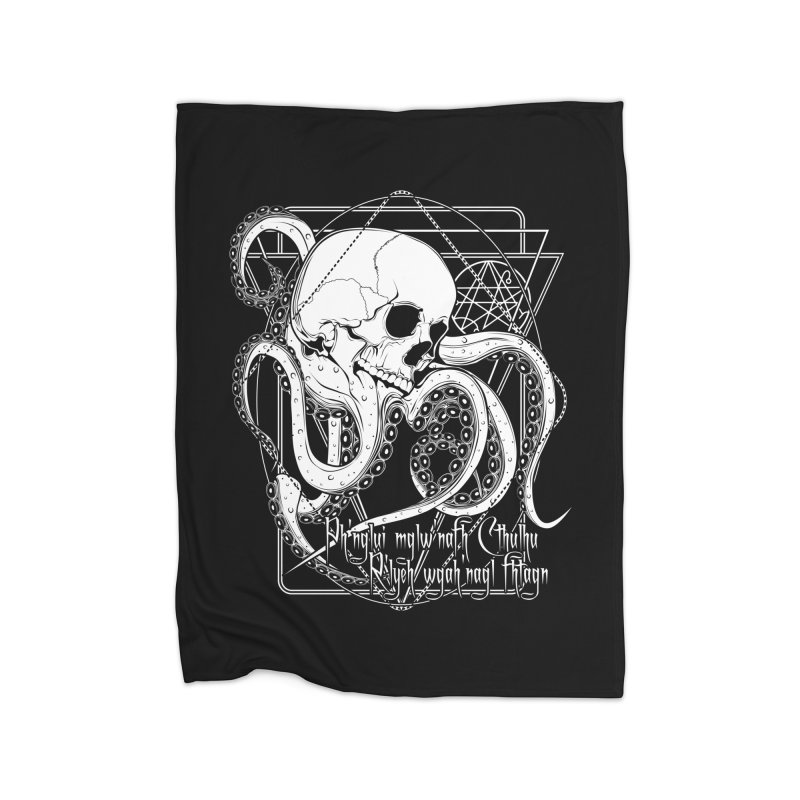 In his house at R'lyeh dead Cthulhu waits dreaming Home Fleece Blanket Blanket by von Kowen's Shop