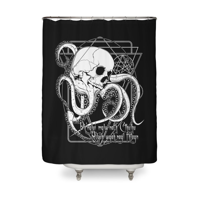 In his house at R'lyeh dead Cthulhu waits dreaming Home Shower Curtain by von Kowen's Shop
