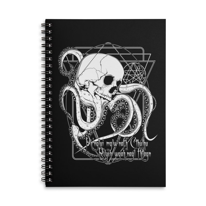 In his house at R'lyeh dead Cthulhu waits dreaming Accessories Lined Spiral Notebook by von Kowen's Shop