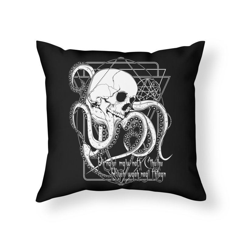 In his house at R'lyeh dead Cthulhu waits dreaming Home Throw Pillow by von Kowen's Shop