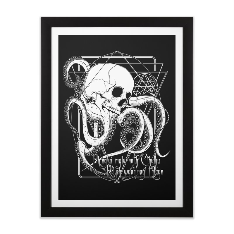 In his house at R'lyeh dead Cthulhu waits dreaming Home Framed Fine Art Print by von Kowen's Shop