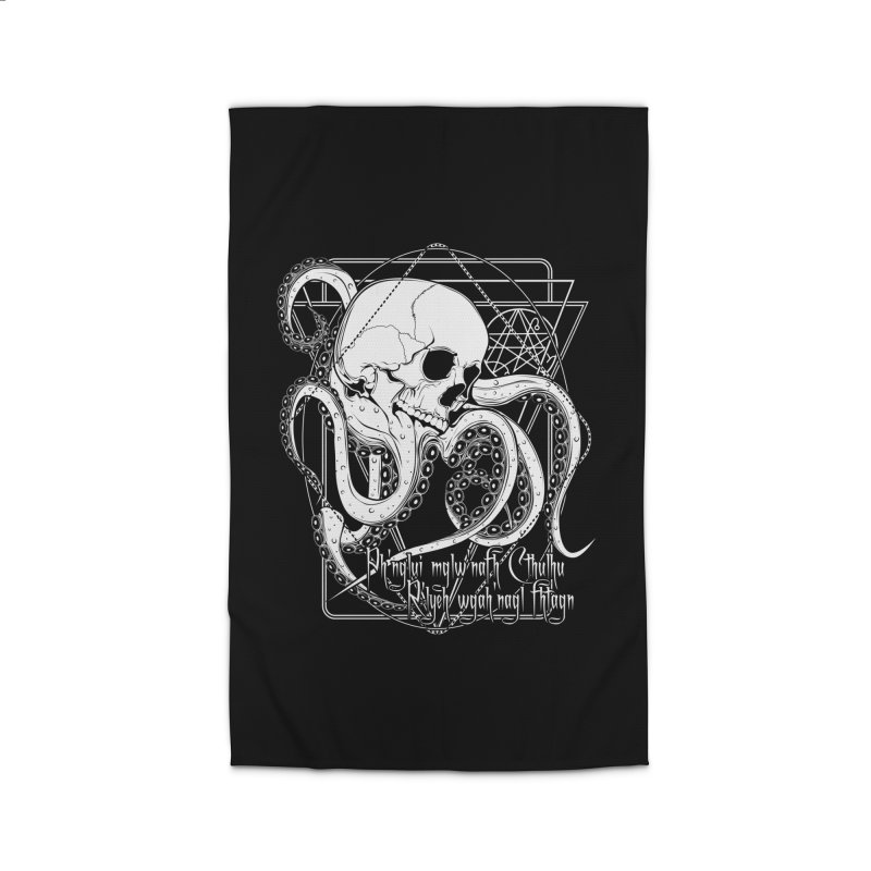 In his house at R'lyeh dead Cthulhu waits dreaming Home Rug by von Kowen's Shop