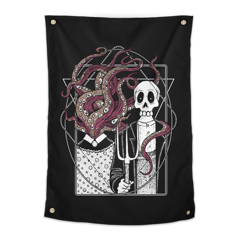 R'yleh Gothic - a tribute to Ameriacan Gothic Home Tapestry by von Kowen's Shop