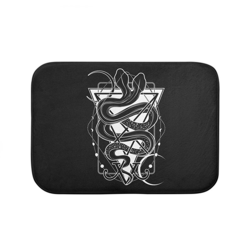Two-headed snake and the Sigil of Lucifer Home Bath Mat by von Kowen's Shop