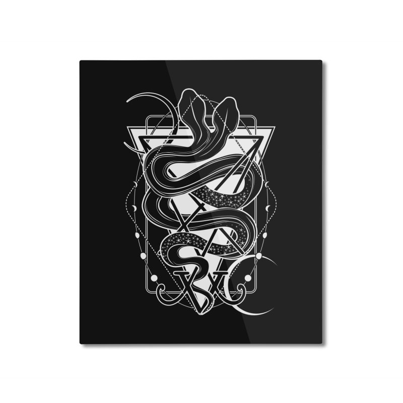 Two-headed snake and the Sigil of Lucifer Home Mounted Aluminum Print by von Kowen's Shop