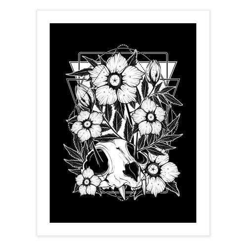 image for Cat skull and pretty flowers