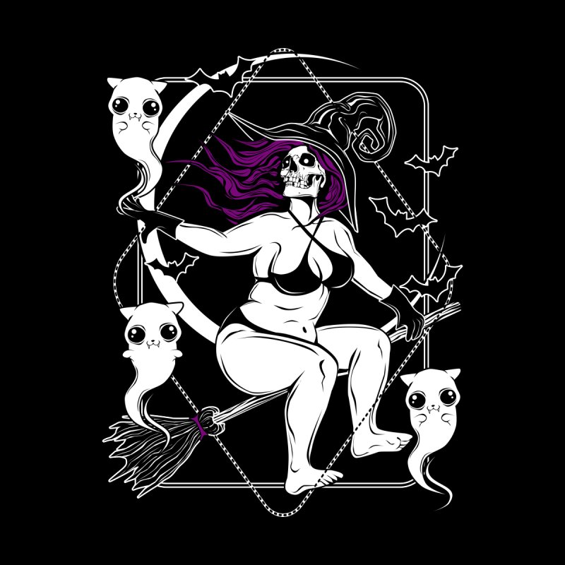 Pin-up witch and her ghost kitties Women's Longsleeve T-Shirt by von Kowen's Shop