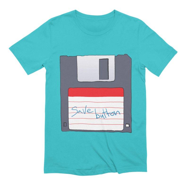 Save Button Men's Extra Soft T-Shirt by V. P. Rigel's Intergalactic Corner!