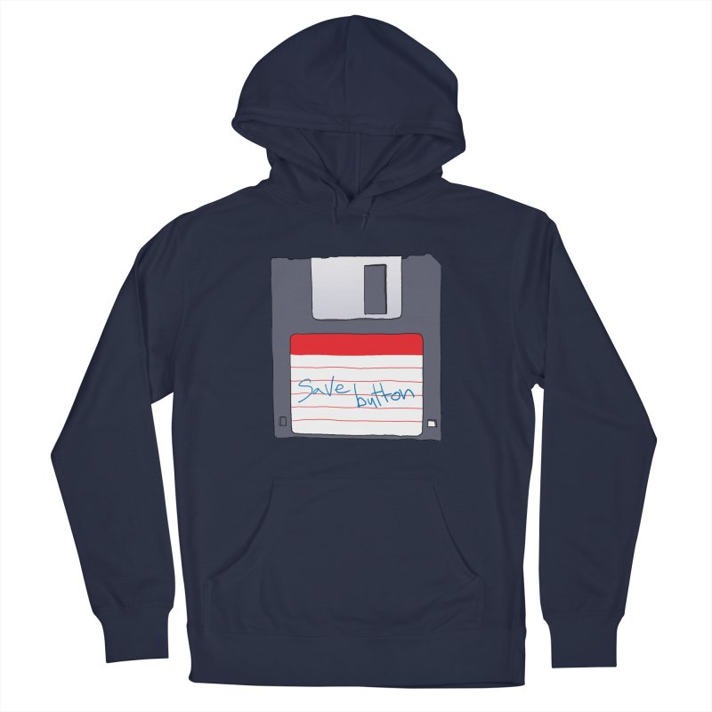 Save Button Women's French Terry Pullover Hoody by V. P. Rigel's Intergalactic Corner!