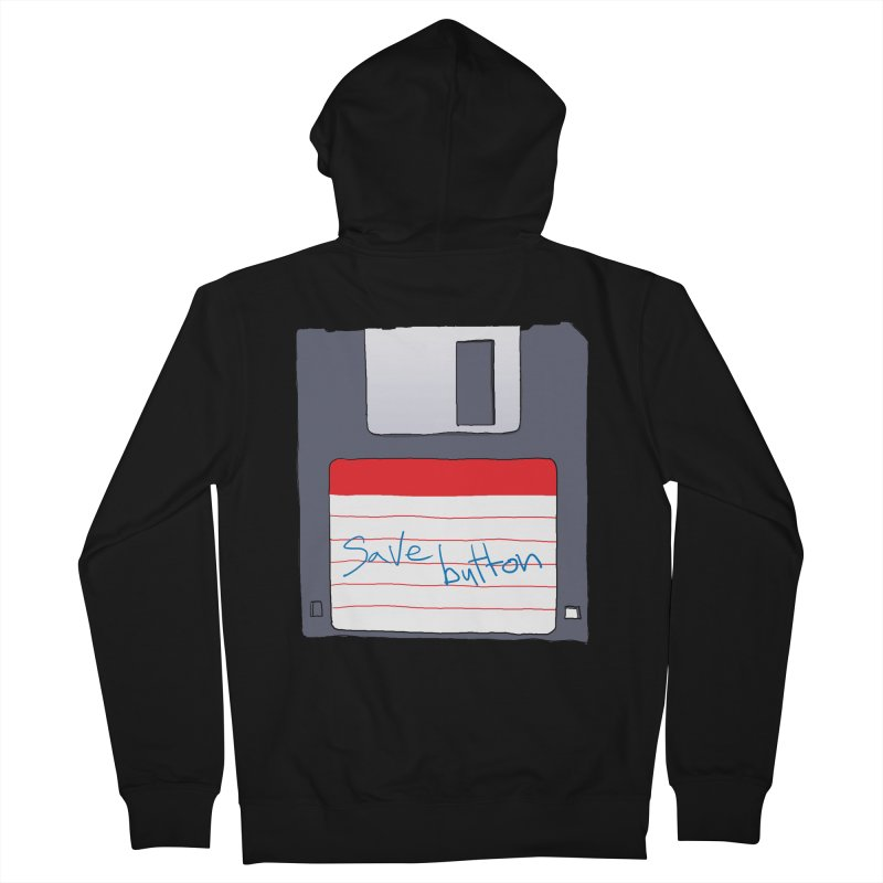 Save Button Men's French Terry Zip-Up Hoody by V. P. Rigel's Intergalactic Corner!