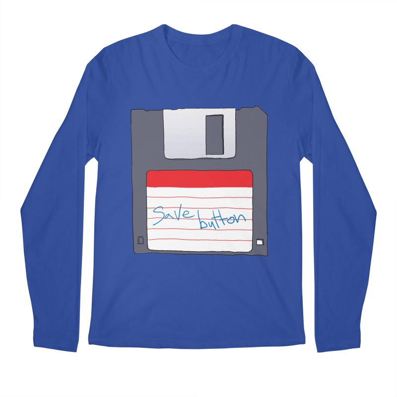 Save Button Men's Regular Longsleeve T-Shirt by V. P. Rigel's Intergalactic Corner!