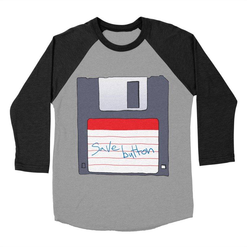 Save Button Women's Baseball Triblend Longsleeve T-Shirt by V. P. Rigel's Intergalactic Corner!