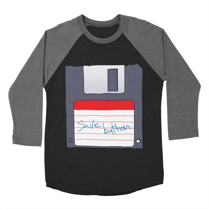 Save Button Men's Baseball Triblend Longsleeve T-Shirt by V. P. Rigel's Intergalactic Corner!