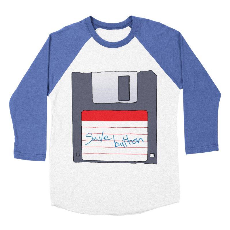 Save Button Men's Baseball Triblend Longsleeve T-Shirt by V. P. Rigel's Intergalactic Corner!