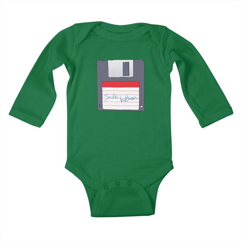 Save Button Kids Baby Longsleeve Bodysuit by V. P. Rigel's Intergalactic Corner!
