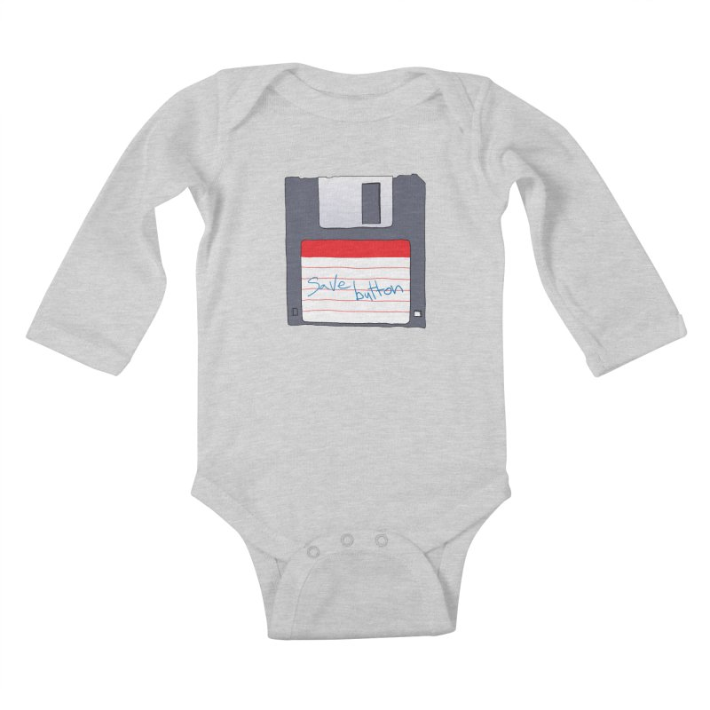 Save Button Kids Baby Longsleeve Bodysuit by V. P. Rigel's Intergalactic Corner!