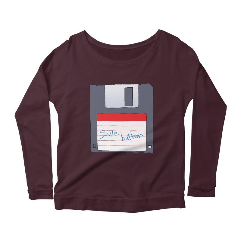 Save Button Women's Scoop Neck Longsleeve T-Shirt by V. P. Rigel's Intergalactic Corner!